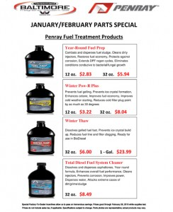 Jan & Feb 2015 Penray Fuel Treatment Products Parts Special Flyer
