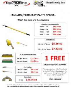 Jan & Feb 2015 Wash Brushes and Accessories Parts Special Flyer