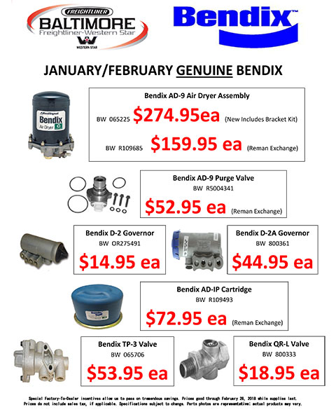 January and February 2018 Genuine Bendix Sale Flyer