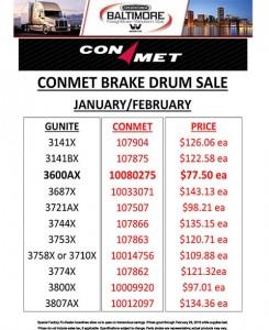 January-February 2016 Conmet Brake Drum Sales Flyer