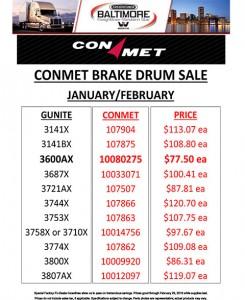 January-February 2016 Conmet Brake Drum Sales Flyer Revised