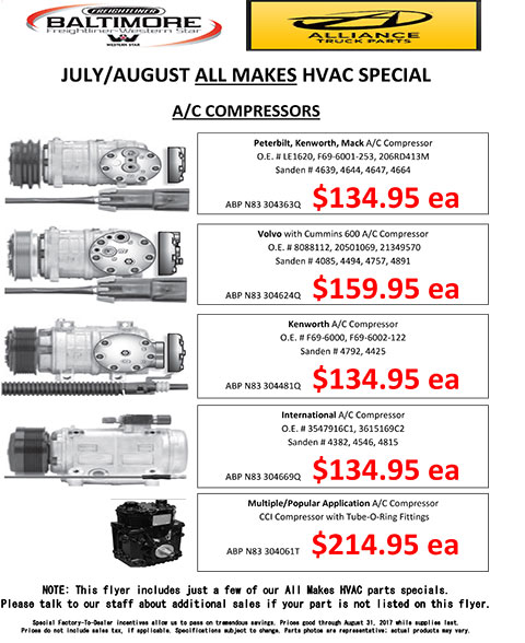 July and August 2017 Alliance Truck Parts All Makes HVAC A/C Compressors Special Flyer