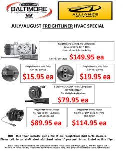 July and August 2017 Alliance Truck Parts HVAC Special Flyer