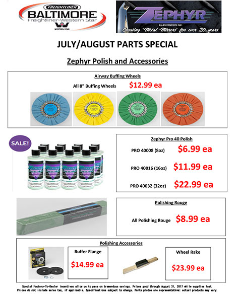 July and August 2017 Zephyr Polish and Accessories Parts Special Flyer