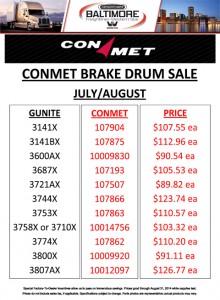 July/August 2014 Conmet Brake Drum Sale