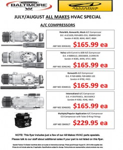 July-August 2015 Alliance Truck Parts All Makes HVAC Specials Flyer