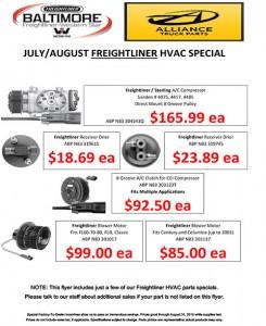 July-August 2015 Alliance Truck Parts Freightliner HVAC Specials Flyer