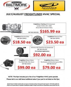 July-August 2016 Alliance Truck Parts Freightliner Special Flyer