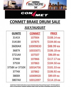 July-August 2016 Conmet Brake Drum Sale Flyer