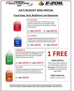 July-August 2016 E-zoil Truck Soap, Acid, Brightner and Degreaser Special Flyer