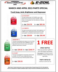 March and April 2015 E-zoil Parts Special Flyer