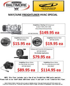 May and June 2017 Alliance Truck Parts Freightliner HVAC Special Flyer