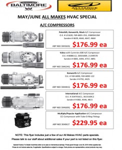 May-June 2015 Alliance Truck Parts All Makes HVAC Special Flyer