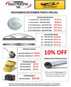 Nov & Dec 2014 Alliance Truck Parts Special Flyer