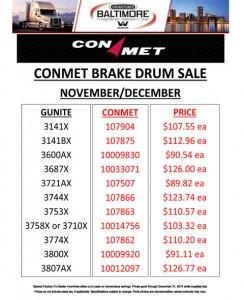 Nov & Dec 2014 Conmet Brake Drum Sale Flyer