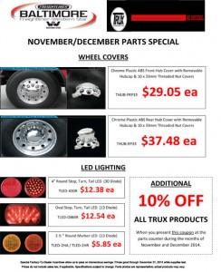 Nov & Dec 2014 Trux Accessories Parts Special Flyer