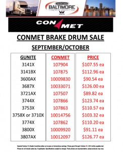 Sept/Oct 2014 Conmet Brake Drum Sale Flyer